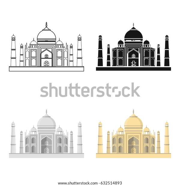 Taj Mahal icon in cartoon style isolated on white background. India symbol stock vector illustration.