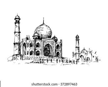 Taj Mahal, India. Vector hand drawn illustration.