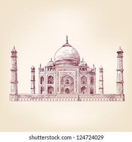 Taj Mahal, India - vintage hand drawn vector illustration