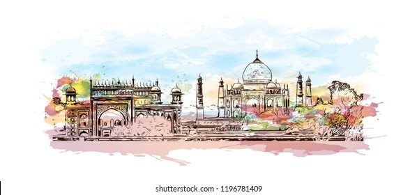 The Taj Mahal is an ivory-white marble mausoleum on the south bank of the Yamuna river in the Indian city of Agra. Watercolor splash with Hand drawn sketch illustration in vector.