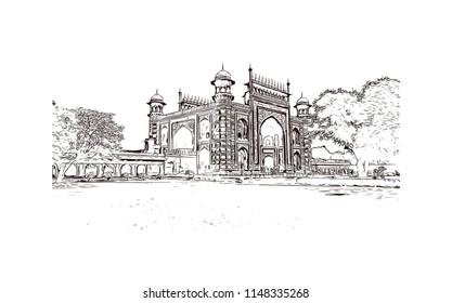 Taj Mahal, Mausoleum in Agra, Uttar Pradesh, India. Hand drawn sketch illustration in vector.