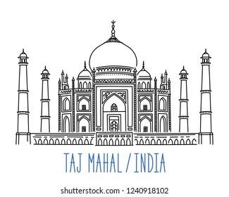 Taj Mahal mausoleum, India. Hand drawn outline vector illustration isolated on white background