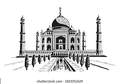 Taj Mahal is a palace in India. Landmark, architecture, hindu temple. Mosque. Engraving, hand drawing, in two colors, black and white. Vector illustration