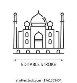 Taj Mahal pixel perfect linear icon. Marble mausoleum. Historical monument. Mughal architecture. Thin line customizable illustration. Contour symbol. Vector isolated outline drawing. Editable stroke