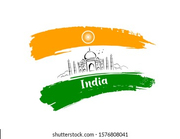 Taj Mahal sketching drawing flag of india brush storke design background, vector illustration