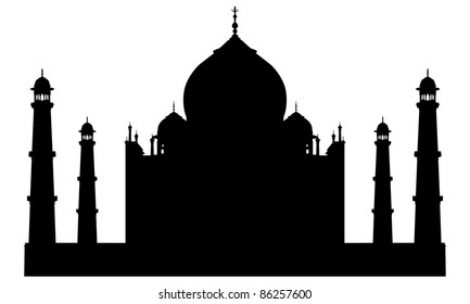 Taj Mahal Temple  Landmark Silhouette. Agra, Asia, India.  Elegant Very Smooth and High Detail Vector illustration.