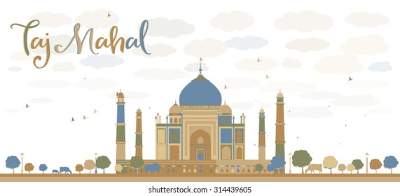 Taj Mahal with Tree and cow. Front view. Vector illustration