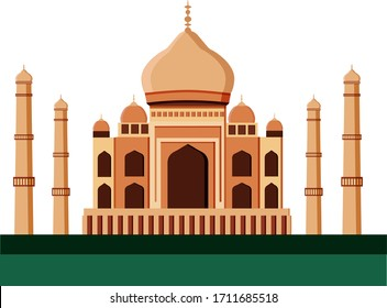 Taj Mahal. A white marble mosque mausoleum located in Agra, India, on the banks of the Yamuna River in Agra. Indian, Persian and Arabian architecture. Temple of the Ancient Palace. Vector illustration