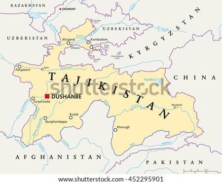 Tajikistan Political Map Capital Dushanbe National Stock ...