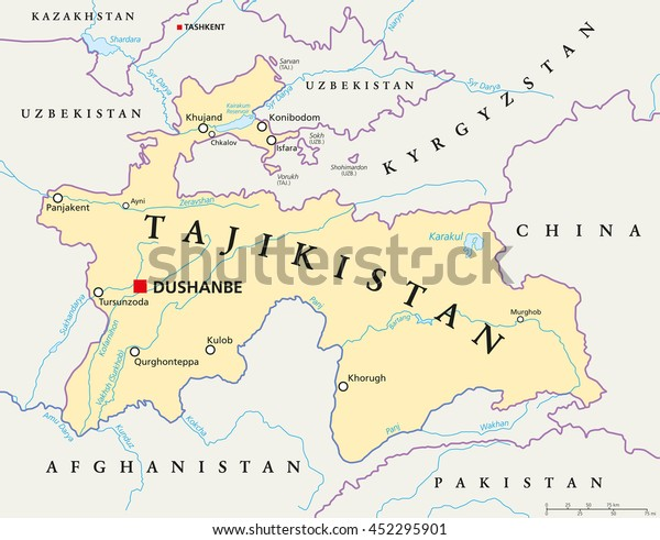 Tajikistan political map with capital Dushanbe, national borders, important cities, rivers and lakes. Republic and landlocked country in Central Asia with two small exclaves. English labeling.