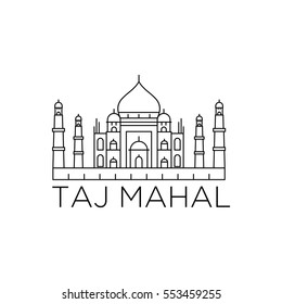 tajmahal line icon landmark vector eps