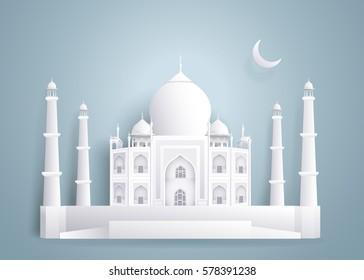 Tajmahal Paper Buildings on blue gray background.vector illustration