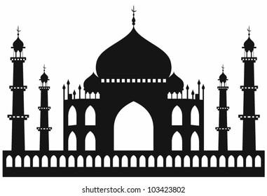 Taj-mahal temple silhouette. Vector