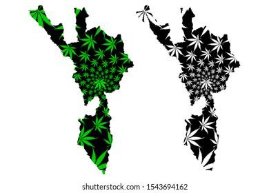 Tak Province (Kingdom of Thailand, Siam, Provinces of Thailand) map is designed cannabis leaf green and black, Tak map made of marijuana (marihuana,THC) foliage