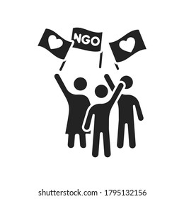 Take action in volunteering black glyph icon. Non profit community. Charity, humanitarian aid concept. Outline pictogram for web page, mobile app, promo.
