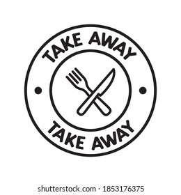Take away badge. Vector linear illustration. Fast food icon.