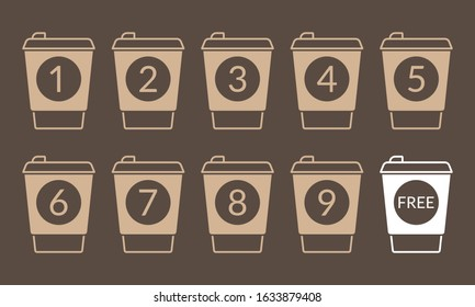 Take away coffee cup concept. Buy 9 cups and get 1 for free. Design element for promotion cafe card or loyalty voucher. Coffee to go icons. Vector illustration.