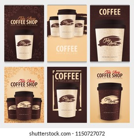 Take Away coffee cup with the hand-draw doodle elements on the background. Set of Coffee posters for ads