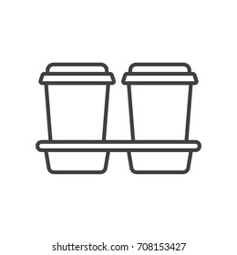 Take away coffee tray line icon.