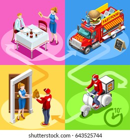 Take away fast food truck van for hamburger fast home delivery vector infographic. Isometric people delivery man guy processing online order at the client customer door advertise burger illustration