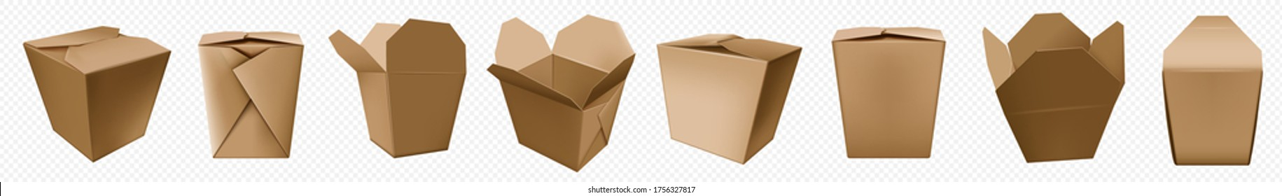 Take away food box. Chinese noodle container of craft paper. Brown cardboard bag template for asian food. Takeout fastfood pack mockup.