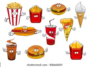 Take away food cartoon characters with happy smiling faces depicting pizza slice, coffee and soda paper cups, french fries and popcorn boxes, hot dog, burgers and ice cream cone