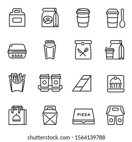 Take away food and drinks linear icons set. Takeaway service, fast food retail symbols pack. Unhealthy nutrition. Lunch bags, coffee cups and breakfast containers thin line illustrations