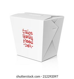 Take away food, noodle box. Vector.