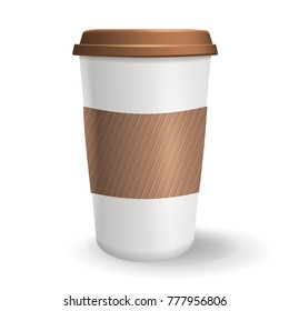 Take away paper coffee cup with lid and protective ripple sleeve. Vector illustration. Realistic to go coffee cup isolated on the white background.
