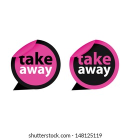 Take away pink stickers and labels. Vector illustration