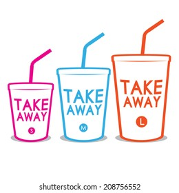 Take away three sizes of glasses isolated on white background. Vector illustration
