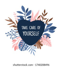 Take care heart. Lovely and caring illustration, vector logo take care of yourself, heart on decorative branches isolated on white background