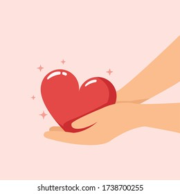 Take care love, hand holding heart for protect concept.