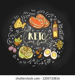Take the Keto Challenge Food sketch illustration - multy-colored vector sketch healthy concept. Healthy keto challenge concept with texture and decorative elements in a circle form - all nutrients