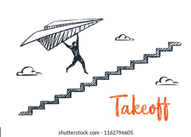Take off, business concept sketch. A man is flying on a paper airplane over the stairs. Vector hand drawn illustration.