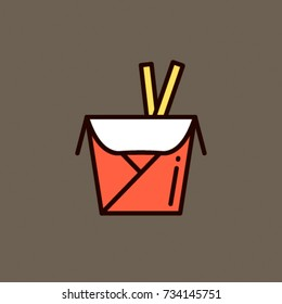 Take Out Box - Flat Vector Design