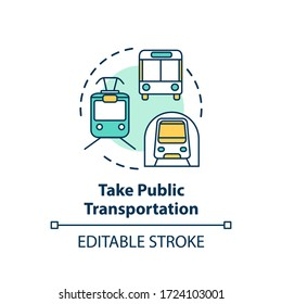 Take public transportation concept icon. Subway tram. Street bus. Urban trip. City transit vehicles idea thin line illustration. Vector isolated outline RGB color drawing. Editable stroke