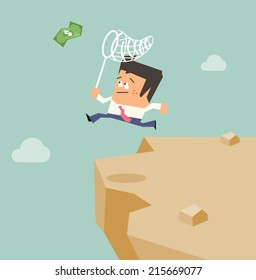 Take the risk to success. Flat vector illustration