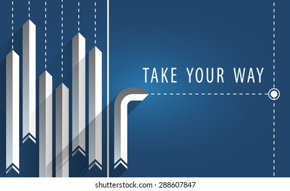 Take Your Way, Long Shadow Arrows with Gradient Surfaces with One Heading Other Way on Blue Background, EPS 10 Vector Illustration