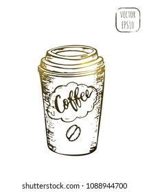 Takeaway beverage sketch illustration. Hand drawn cafe menu vector icon. Coffee to go outline print.