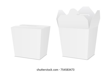 Takeaway chinese noodles food box - half side view. Opened and closed packaging mockups for design or branding. Vector illustration