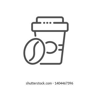 Takeaway coffee line icon. Hot latte sign. Tea drink mug symbol. Quality design element. Linear style takeaway coffee icon. Editable stroke. Vector