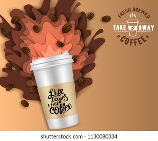Takeaway coffee paper cut poster banner design template. Vector illustration of disposable coffee cup with coffee splashes and coffee beans.