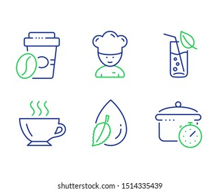 Takeaway coffee, Coffee and Water glass line icons set. Cooking chef, Water drop and Boiling pan signs. Roasted bean, Cappuccino, Soda drink. Sous-chef. Food and drink set. Vector