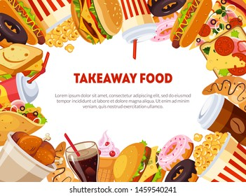 Takeaway Food Banner Template with Delicious Fast Food Dishes, Restaurant, Cafe Design Element, Poster, Invitation, Voucher, Flyer, Coupon Vector Illustration