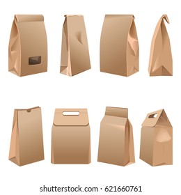 Takeaway paper bags set on white vector illustration