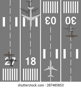 Takeoff and landing airplanes set. Runway with jet aircraft top view. Airport elements top view. Instrument landing system scheme. Vector airport symbol and background. Jet turbine and prop engine.