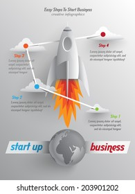 takeoff paper rockets, easy steps to start your business, infographics template