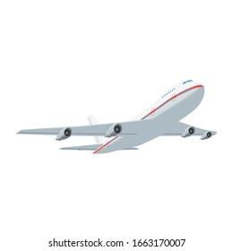 Take-off passenger plane, flying plane on a white background