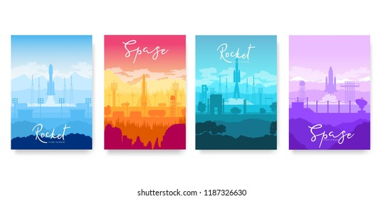 Take-off of the rocket vector brochure cards set.  Space Flight template of flyear, magazines, poster, book cover, banners. Space shuttle takes off  invitation concept background. Layout illustration